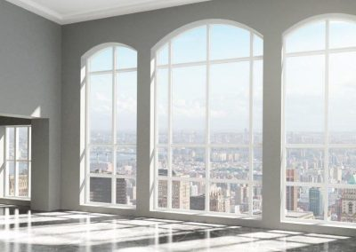 floor to ceiling windows with arch